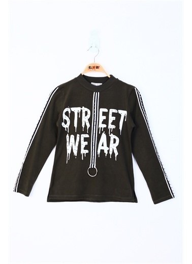 Toontoy Toontoy Kız Çocuk Sweatshirt Street Wear Baskılı - 8 Yaş - 128Cm   Boy Haki